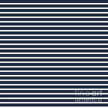 Nautical Navy and White Horizontal Stripes by Leah McPhail