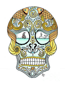 Nautical Sugar Skull by Stephanie Troxell