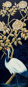 Navy Blue Gold Crane Oriental decor by Debbie Criswell
