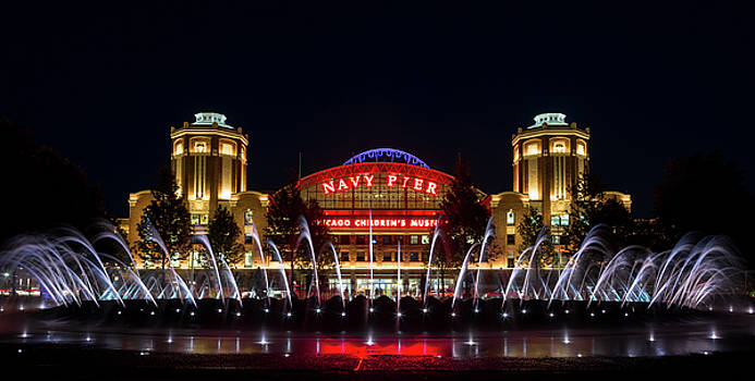 Navy Pier Fountains at Night by John Daly