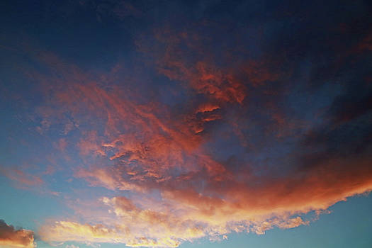 Indigo Blue Sky and Coral Pink Clouds by Brooke T Ryan