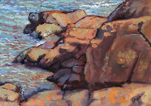 NE Rocks n Surf- Presque Isle Park- Plein air by Larry Seiler
