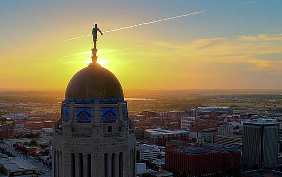 Nebraska State Capitol Building at Sunset by Mark Dahmke