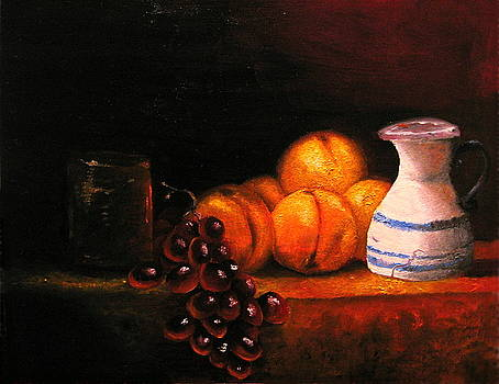 Nectarines With Grapes by Chris Haugen