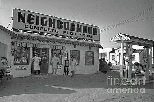 California Views Mr Pat Hathaway Archives - Neighborhood Complete Food Store and Shell Gas Station Circa 1940