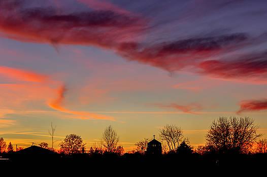Neighborhood Sunset Silhouette by Brad Stinson