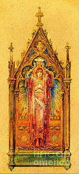 Neo Gothic Jesus Christ Mosaic Panel  by Louis Comfort Tiffany