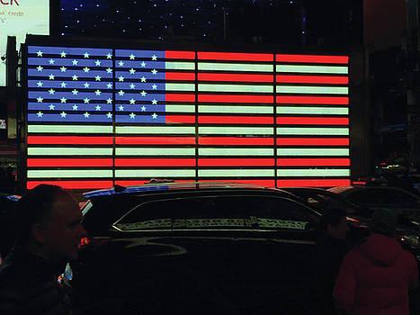 Neon American Flag by Kathleen Anderle