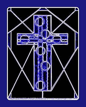 Neon Blue Cross Design  by Art Speakman