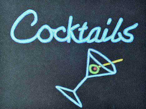 Neon Cocktails Sign by Lisa Von Biela