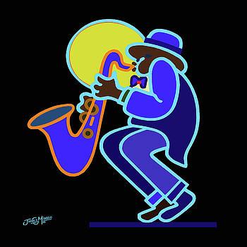 Neon Sax Player 2 by James  Mingo