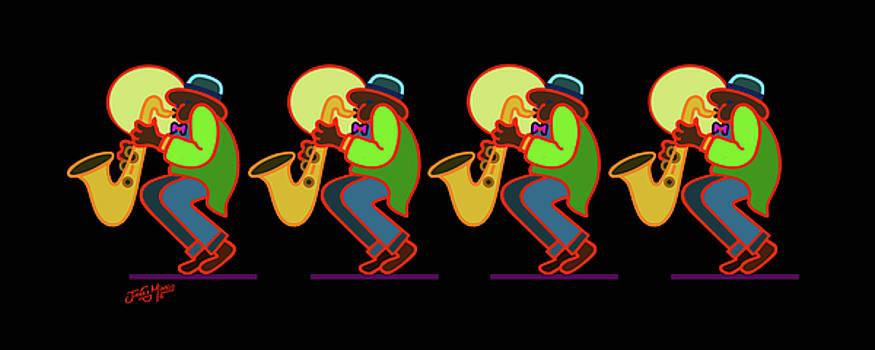 Neon Sax Players 6 by James  Mingo