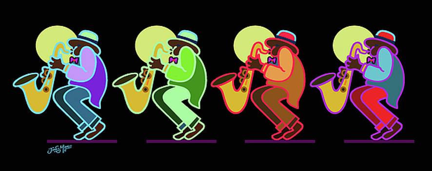 Neon Sax Players 7 by James  Mingo