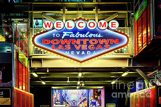Neon Sign at Night in Downtown Las Vegas by George Oze