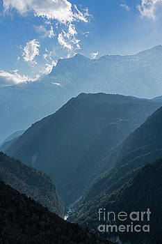 Nepal Road to Namche Sunray Layers by Mike Reid