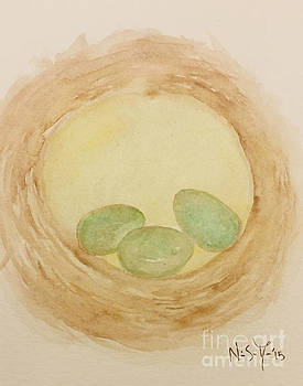 Nest Watercolor by Sacred  Muse