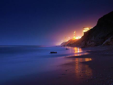 Netanya Beach At Night by Meir Ezrachi
