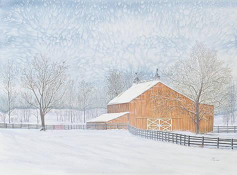 Sam Davis Johnson - New Barn in Snowstorm