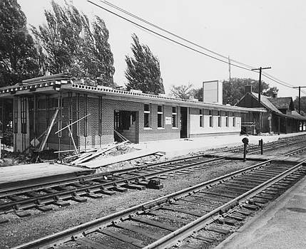 Chicago and North Western Historical Society - New Depot Under Construction in Palatine Illinois - 1960