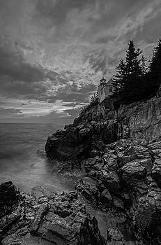New England Black and White Photography of Bass Harbor Lighthouse  by Juergen Roth