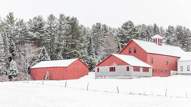 Edward Fielding - New England Farm with Red Barns in winter