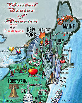 New England Fun Map by Kevin Middleton