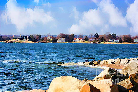 New England Shoreline - Painterly by Judy Palkimas