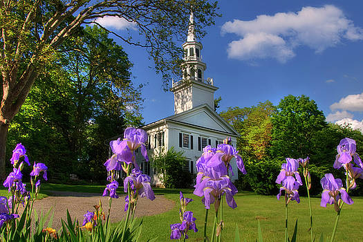 New England White Church in Spring by Joann Vitali