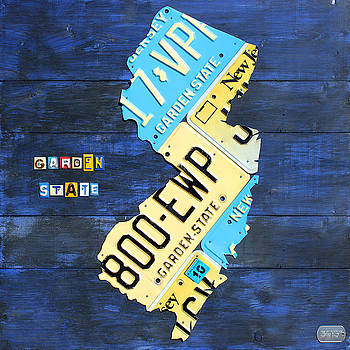 New Jersey Map Vintage Recycled State License Plate Art by License Plate Art and Maps