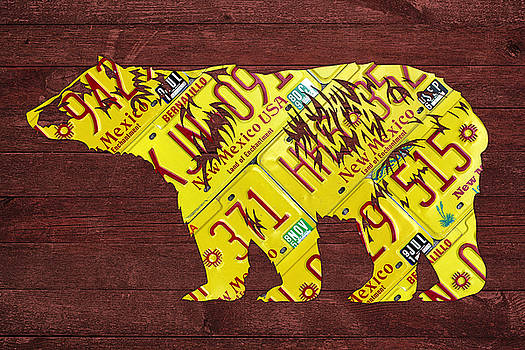 Design Turnpike - New Mexico Black Bear Official State Animal Shape Recycled License Plate Art Series Number 004