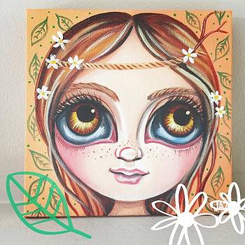 New Mini Painting - daisies In Her by Jaz Higgins