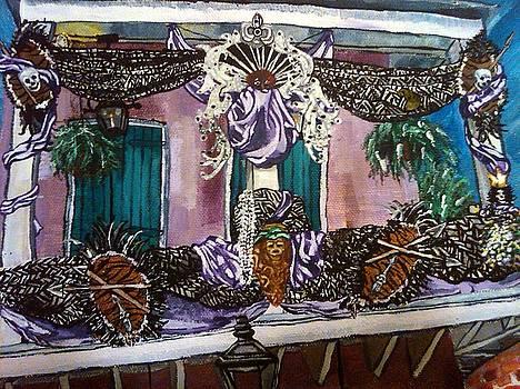 New Orleans Balcony At Mardi Gras by Crystal N Puckett