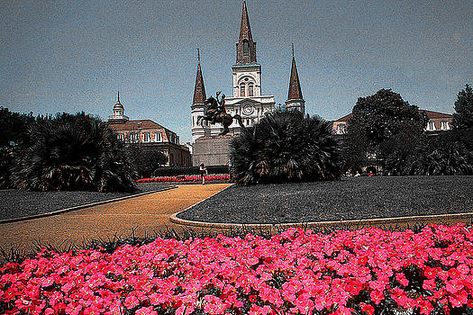 Peter Potter - New Orleans Cathedral with Pink Flowers - Louisiana Artwork