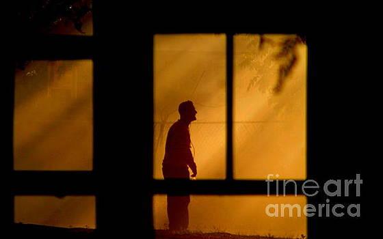 New Orleans Fire Watcher Thru The Window Panes by Michael Hoard