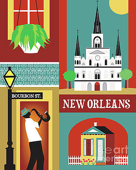 New Orleans Louisiana Vertical Scene - Collage by Karen Young