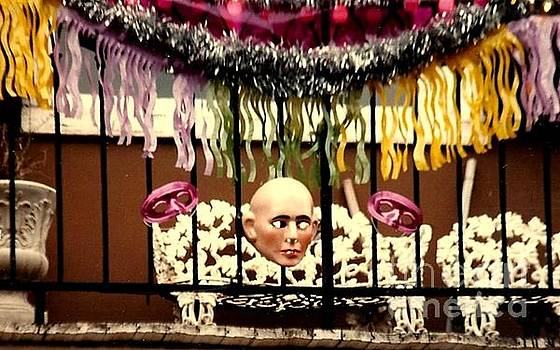 New Orleans Mardi Gras Masked Balcony In The Garden District by Michael Hoard