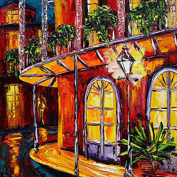 New Orleans Original Oil Painting French Quarter Glow by Beata Sasik