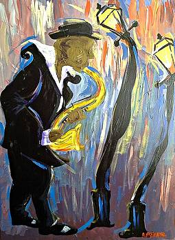New Orleans Saxophone Player by Kerin Beard