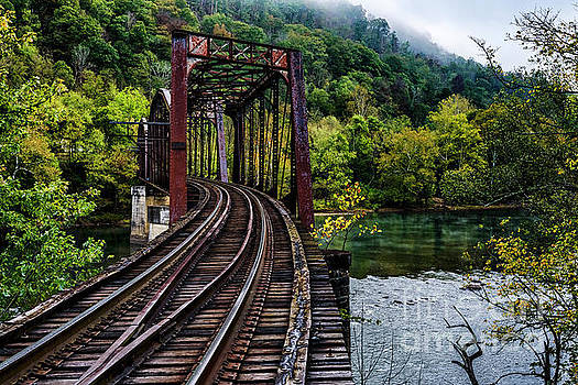 New River and Train Trestle by Thomas R Fletcher