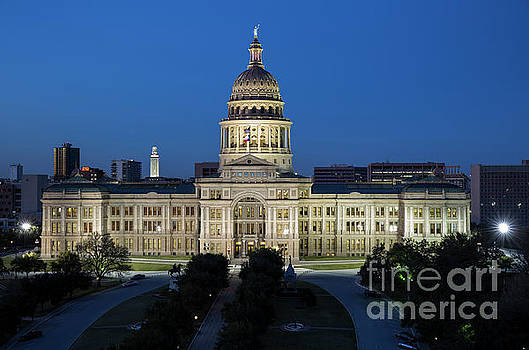Herronstock Prints - New Texas State Capitol Building and UT Tower at twilight, government home in Austin, Texas