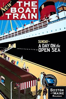 New, the boat train, travel poster, 1925 by Vintage Printery