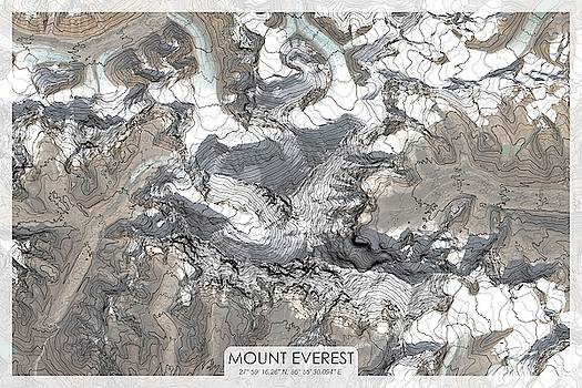 Mount Everest Topographic Map by Ian Grasshoff