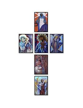 Cross of original paintings by Mary DuCharme