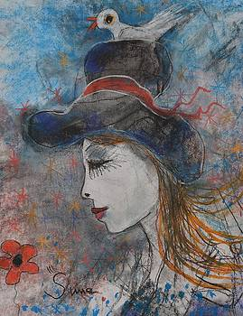 Lady Blue Hat and Bird by Michael Sime