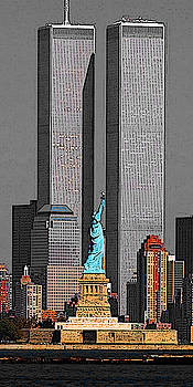 New York 911 Memory - Twin Towers and Statue of Liberty by Art America Gallery Peter Potter