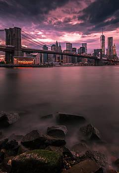 Ranjay Mitra - New York City Brooklyn Bridge Sunset