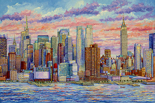 New York City - Manhattan Skyline Hudson River by Mike Rabe