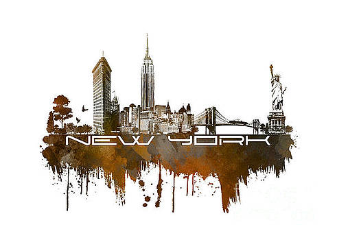 Justyna Jaszke JBJart - New York city skyline brown
