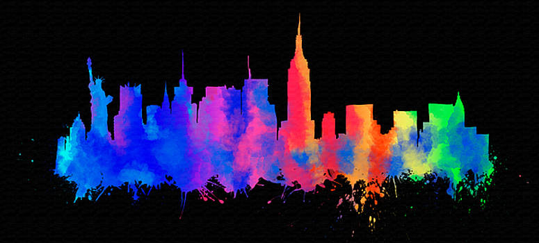 Vyacheslav Isaev - New York city skyline on a black background.