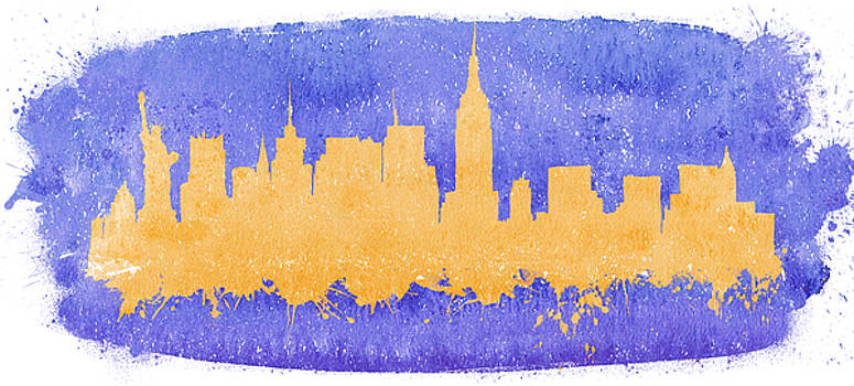 Vyacheslav Isaev - New York city watercolor skyline on a purple